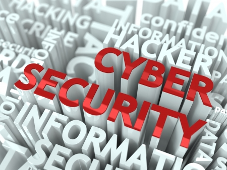 cloud security: Cyber Security Concept  The Word of Red Color Located over Text of White Color