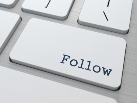 Follow - Button on Modern Computer Keyboard  Stock Photo - 17598726