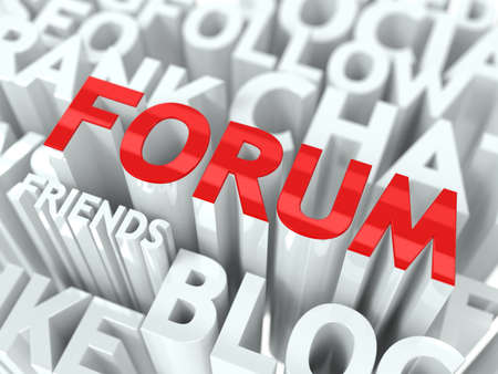 Forum Concept  The Word of Red Color Located over Text of White Color  photo
