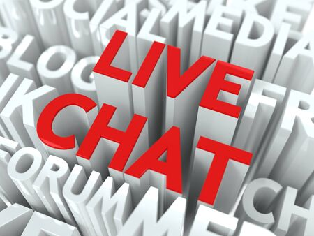 Live Chat Concept  The Word of Red Color Located over Text of White Color  photo