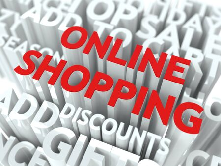 Online Shopping Concept  The Word of Red Color Located over Text of White Color  photo