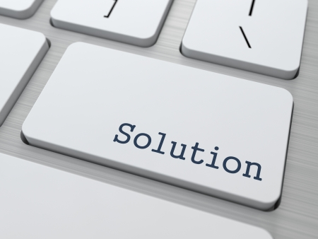 Solution Concept  Button on Modern Computer Keyboard with Word Solution on It  photo
