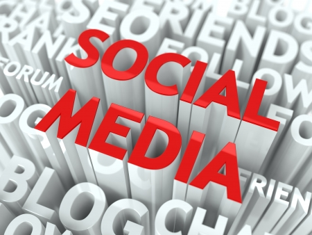 Social Media Concept  The Word of Red Color Located over Text of White Color Stock Photo - 17599455