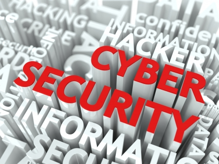 cyber attack: Cyber Security Concept  The Word of Red Color Located over Text of White Color