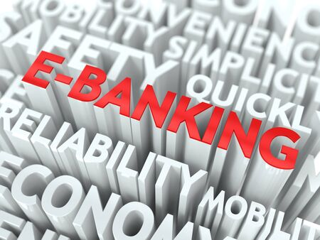 deposite: E-Banking Concept  The Word of Red Color Located over Text of White Color