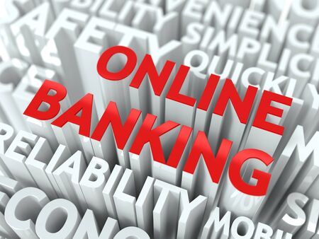 deposite: Online Banking Concept  The Word of Red Color Located over Text of White Color  Stock Photo