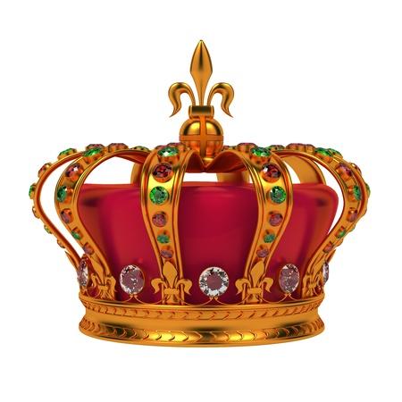corona reina: Golden Royal Crown Aislado sobre fondo blanco Foto de archivo