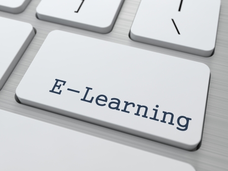 elearning: E-Learning Concept  Button on Modern Computer Keyboard with Word Partners on It  Stock Photo
