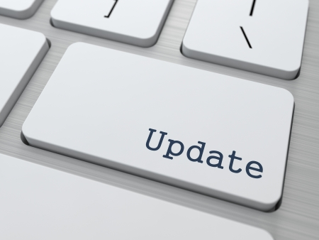 update: Update Concept  Button on Modern Computer Keyboard with Word Partners on It  Stock Photo