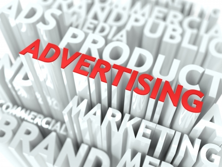 declare: Advertising Concept  The Word of Red Color Located over Text of White Color