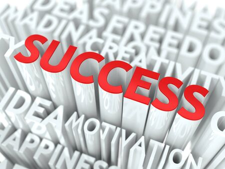 good life: Success Concept  The Word of Red Color Located over Text of White Color  Stock Photo