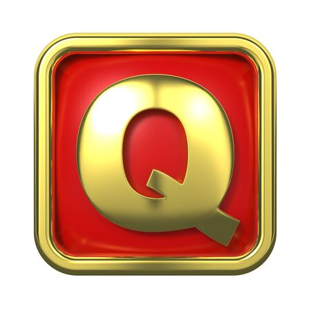 goldbars: Gold Letter  Q  on Red Background with Frame