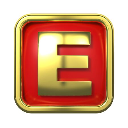 Gold Letter  E  on Red Background with Frame  photo
