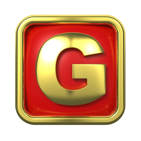 gold standard: Gold Letter  G  on Red Background with Frame