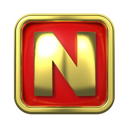 gold standard: Gold Letter  N  on Red Background with Frame