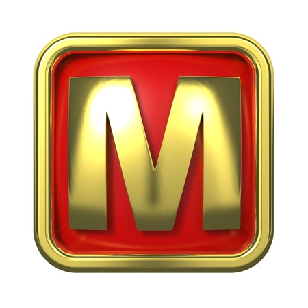 Gold Letter  M  on Red Background with Frame  photo