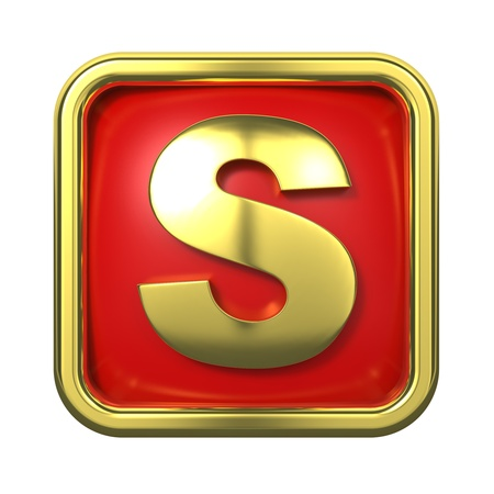 Gold Letter  S  on Red Background with Frame  photo