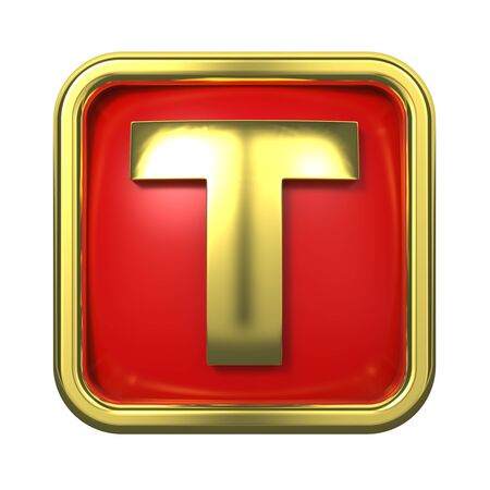 Gold Letter  T  on Red Background with Frame  Stock Photo - 17858513