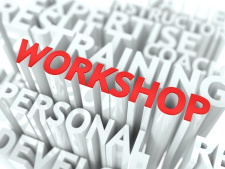 Workshop Concept  The Word of Red Color Located over Text of White Color Stock Photo - 17859468