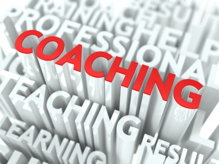 Coaching Concept  The Word of Red Color Located over Text of White Color  photo