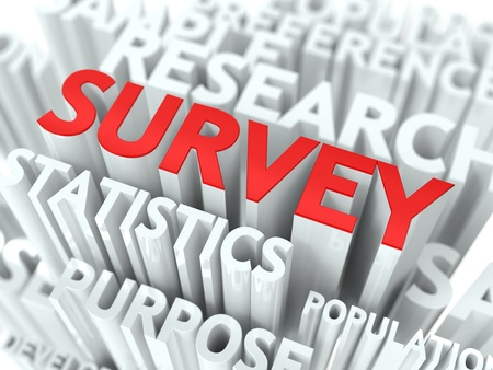Survey Concept  The Word of Red Color Located over Text of White Color Stock Photo - 17859473