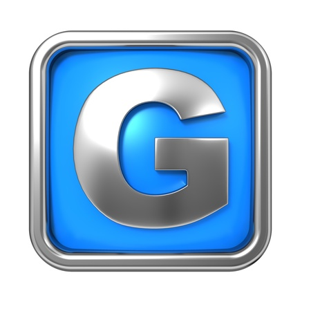 Silver Letter in Frame, on Blue Background - Letter G photo