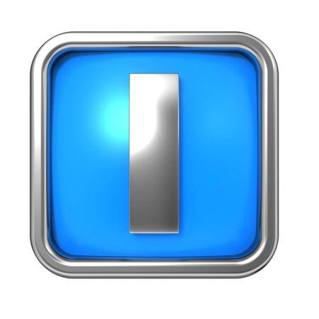 Silver Letter in Frame, on Blue Background - Letter I photo