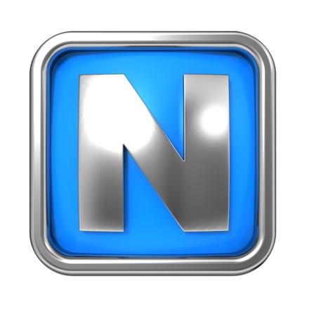 Silver Letter in Frame, on Blue Background - Letter N photo
