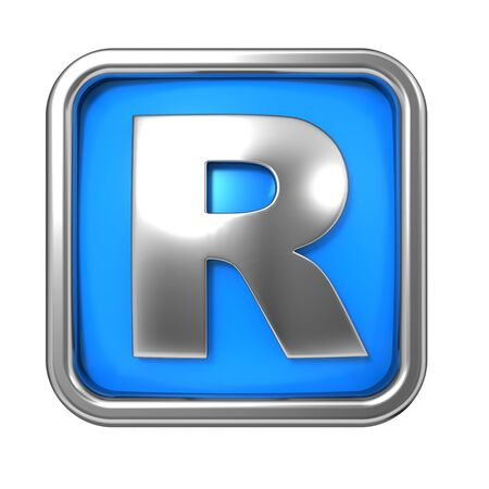 r fine: Silver Letter in Frame, on Blue Background - Letter R