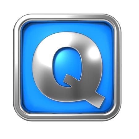 Silver Letter in Frame, on Blue Background - Letter Q photo