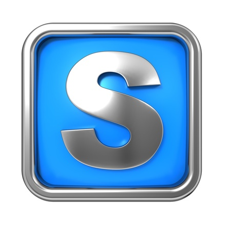 Silver Letter in Frame, on Blue Background - Letter S photo