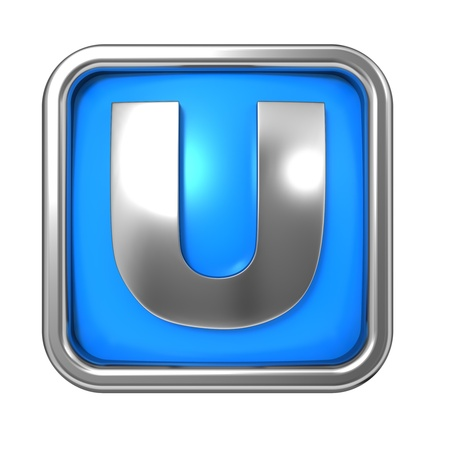 Silver Letter in Frame, on Blue Background - Letter U photo