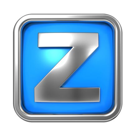 Silver Letter in Frame, on Blue Background - Letter Z photo