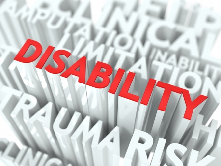 Disability Background Design  Word of Red Color Located over Word Cloud of White Color  Stock Photo - 17953524
