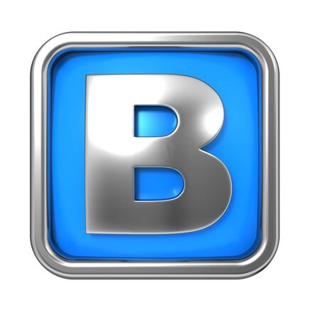 metaal: Zilveren Letter in frame, op blauwe achtergrond - Brief B