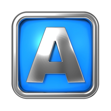 Silver Letter in Frame, on Blue Background - Letter A photo
