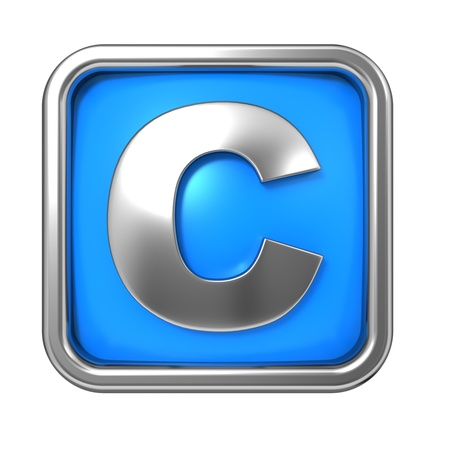 Silver Letter in Frame, on Blue Background - Letter C photo