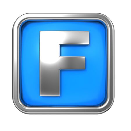 Silver Letter in Frame, on Blue Background - Letter F photo