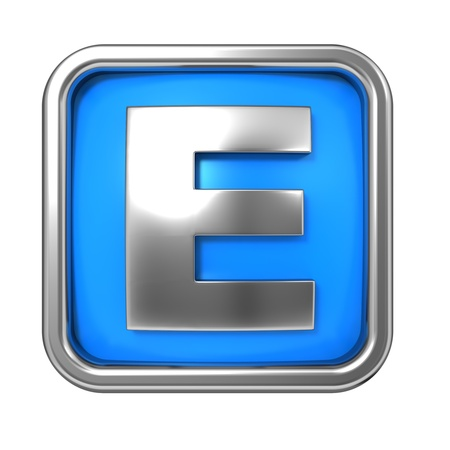 Silver Letter in Frame, on Blue Background - Letter E photo