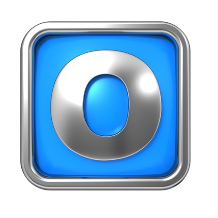 Silver Letter in Frame, on Blue Background - Letter O Stock Photo - 17971839
