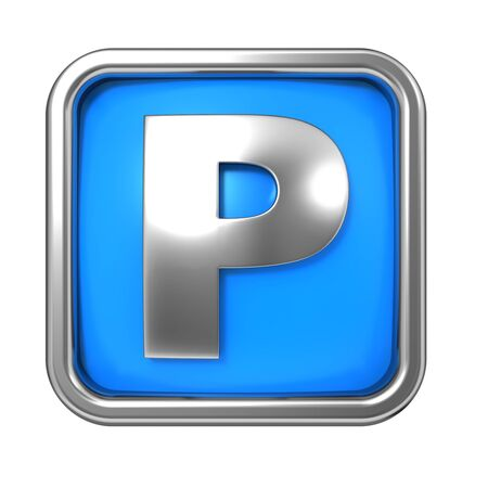 Silver Letter in Frame, on Blue Background - Letter P photo