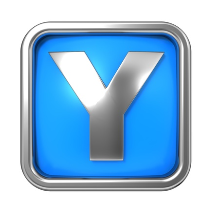Silver Letter in Frame, on Blue Background - Letter Y photo