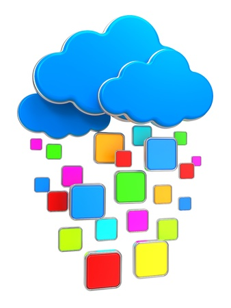 Internet Communication and Cloud Computing Concept  Clouds with Blank Icon Frames Isolated on White  photo