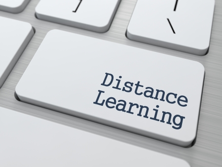 Distance Learning Button on Modern Computer Keyboard with Word Partners on It  photo