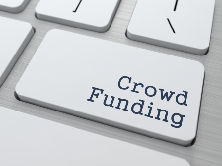 crowd sourcing: Crowd Funding Concept  Button on Modern Computer Keyboard with Word Partners on It