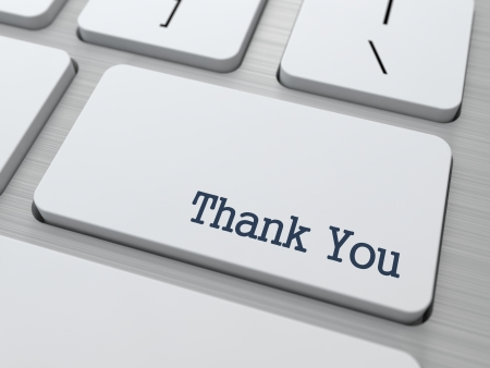 note pc: Thank You Button on Modern Computer Keyboard with Word Partners on It  Stock Photo