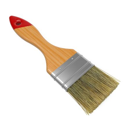Wooden Paintbrush Isolated on White Background  photo