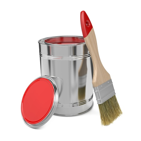 Paint Can with Red Paint and Paintbrush Isolated on White Background