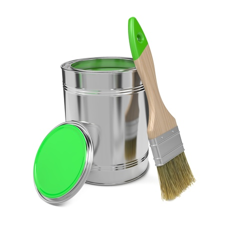 Paint Can with Green Paint and Paintbrush Isolated on White Background  photo
