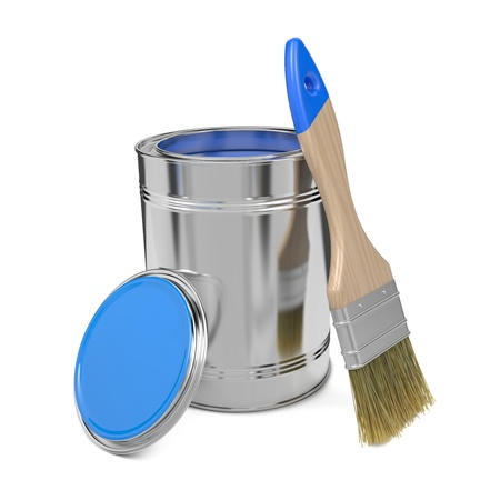 Paint Can with Blue Paint and Paintbrush Isolated on White Background  Stock Photo - 17972257